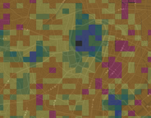 人の密集度をメッシュごとに色を変えて可視化