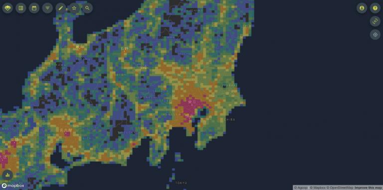 メッシュごとに統計化した換算人口データのイメージ画面