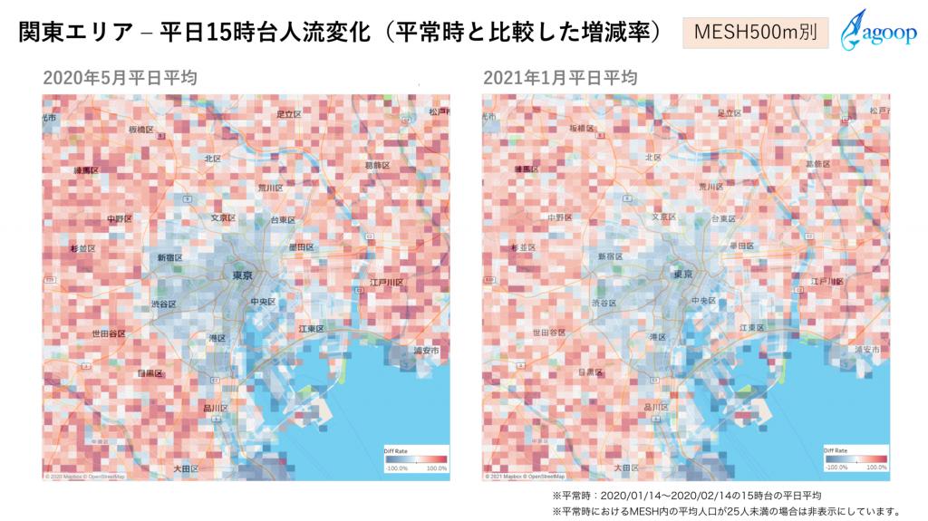 関東エリア ‒ 平日15時台人流変化(平常時と比較した増減率)